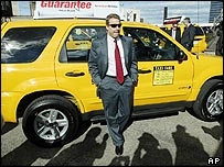 Bill Ford, Ford chief executive, unveiling a hybrid New York taxi