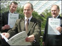 Plaid Cymru's Adam Price, Simon Thomas and Elfyn Llwyd