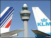 KLM and Air France tailfins
