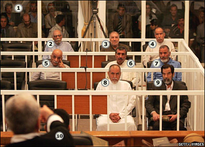 Dock in courtroom where trial of Saddam Hussein and others is being held