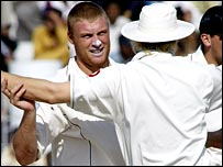 Flintoff took two wickets in successive balls