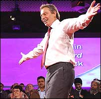 Tony Blair addresses supporters at the rally