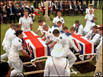 The burial of 30 British sailors