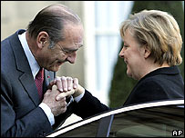 Jacques Chirac greets Angela Merkel