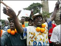 Opponents of the proposed constituition celebrate in Nairobi