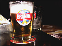 Glass of Brahma beer