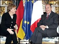 Angela Merkel (l) and Jacques Chirac