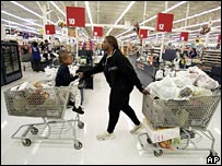 US shopper with two trolleys