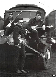 George Harrison, Stuart Sutcliffe and John Lennon in 1959