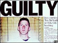 Newspaper headline: Timothy McVeigh Guilty