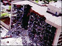 The damaged Murrah Federal Building in Oklahoma City