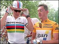 Lance Armstrong (left) with Chris Boardman at the 1994 Tour de France
