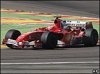 Michael Schumacher in the Ferrari F2005 at the team's Fiorano test track