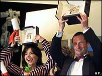 Lars von Trier with Bjork at Cannes in 2000