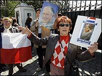 Manifestantes a favor de Augusto Pinochet