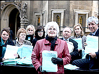 Liz Longhurst joined by her supporters outside the House of Commons