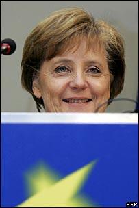 Angela Merkel at EU headquarters in Brussels
