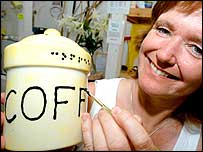 Anne Turner with a Braille ceramic coffee jar
