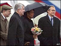 US Secretary of State Condoleezza Rice (centre) is greeted at Vnukovo airport upon her arrival in Moscow,
