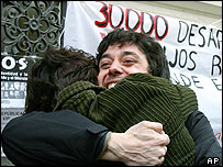"Relatives of Argentina's ""disappeared"" celebrate the jailing of Adolfo Scilingo"