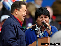 Venezuelan President Hugo Chavez and Bolivian candidate Evo Morales during the Summit of the Americas