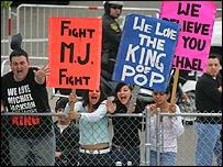Michael Jackson fans outside court