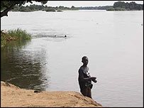 Man on the banks of the White Nile