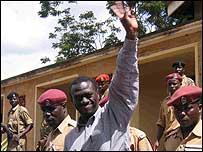 Ugandan opposition leader Kizza Besigye at the military court