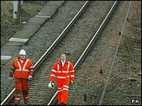 Network Rail workers checking rail lines