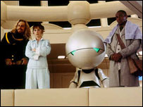Sam Rockwell, Zooey Deschanel and Mos Def in The Hitchhiker's Guide To The Galaxy