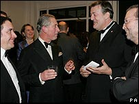 (from left) Jools Holland, the Prince of Wales, Stephen Fry and Eric Clapton