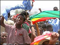 Ethiopians cheer in Axum