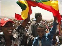 Cheering Ethiopians