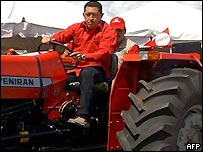 President Chavez on a tractor