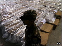 Honduras army soldier guards ballot boxes