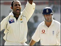 Naved took three wickets, includign Michael Vaughan lbw