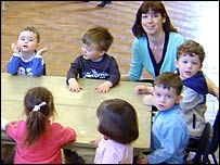Susan Watkins with kids at the playgroup