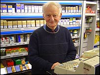 Roger Page at his newsagent