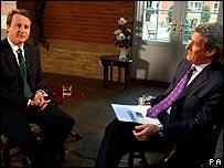 David Cameron and Newsnight presenter Jeremy Paxman