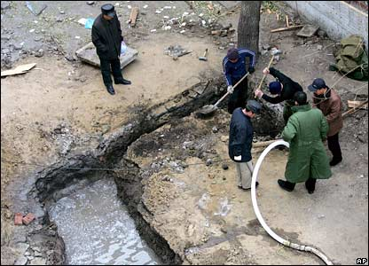 Residents dig a well in Harbin