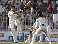 Andrew Flintoff plays a shot during the fifth day of the second Test match against Pakistan
