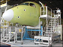 Nose-cone of plane being built at Embraer's factory in Sao Jose dos Campos