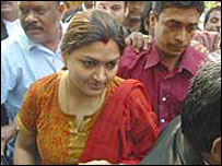 South Indian film actress, Khushboo, appearing in court in Madras