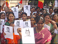 Demonstrators protesting against Khushboo's remarks in Madras