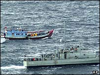 Australian Navy ship intercepting an Indonesian fishing boat - April 2005