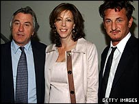 Actor Robert De Niro, festival founder Jane Rosenthal and actor Sean Penn