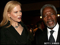 Nicole Kidman with United Nations secretary general Kofi Annan at the Tribeca Film Festival