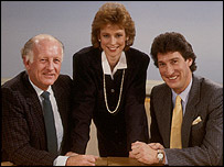 Frank Bough, Sally Magnussen and Jeremy Paxman on Breakfast Time in 1986