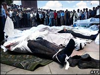 File photograph of victims of Andijan uprising in Uzbekistan in May 2005