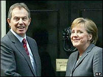 UK PM Tony Blair with German Chancellor Angela Merkel in London
